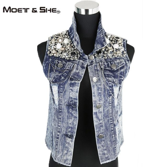 Moet &She Womens Denim Coat Autumn Sleeveless Vintage  Holes Tie Dye Fashion Jeans Jacket  Embroidery Sequins Tank TopsC66247R
