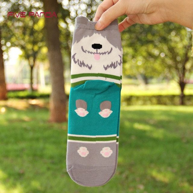 5 pairs=1 lot Cute dog  tube casual summer  socks cartoon kawaii art painting tube female fashion socks MF915414152