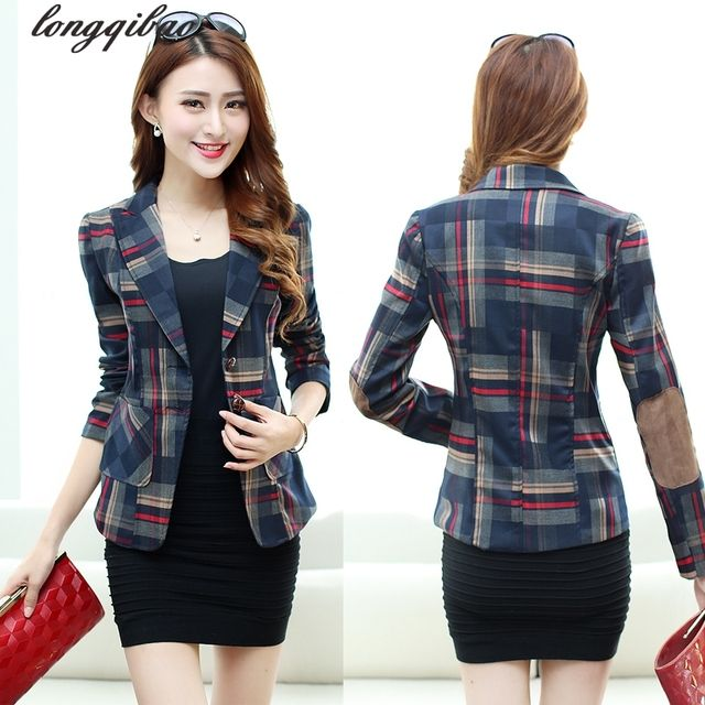New Korean autumn and a buckle small suit jacket female commuter classic British plaid long-sleeved TB7113