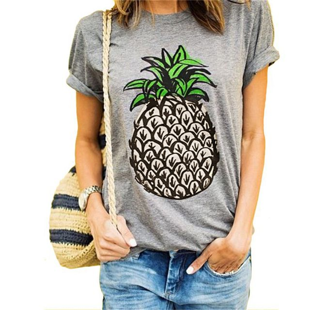 Women T Shirt Round Collar Short Sleeve Pineapple Print Casual Summer Designer S-2XL