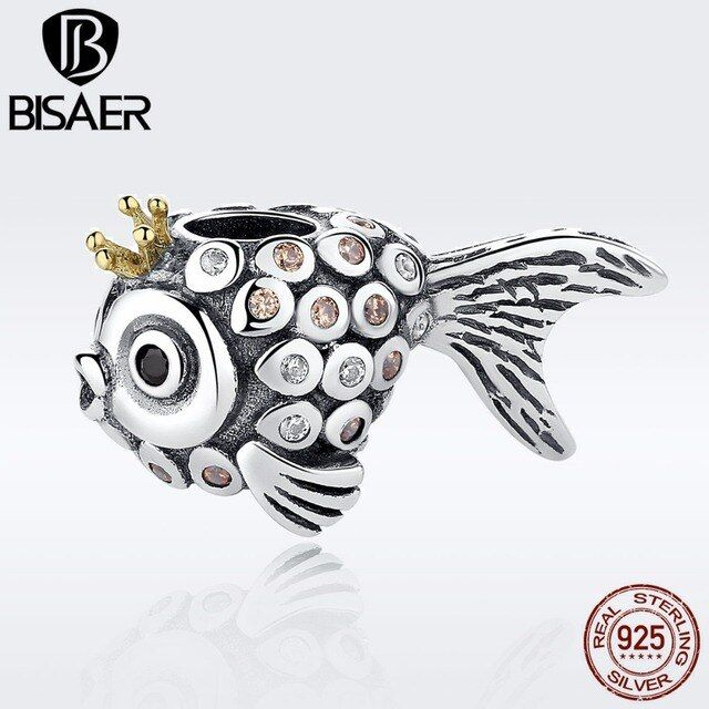 Lovely Vintage 925 Sterling Silver Lucky Crown Gold Fish Beads Charm Fit CHARMS Bracelets & Necklaces DIY Accessories EDC038
