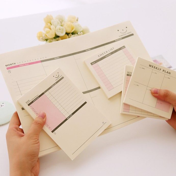 Korean Kawaii Cute School Office Supplies Daily Weekly Monthly Plan Desk Note Pad Memo Pad Planner Agendas Checklist