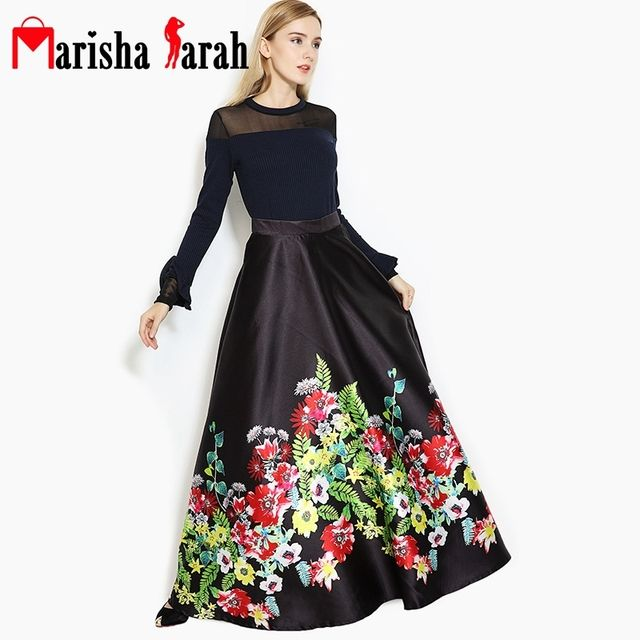 Runway Party Vintage Women 110cm Long Skirt Women Fashion Fall Winter Casual Pleated Floral Print Floor-Length Maxi Skirts Saia
