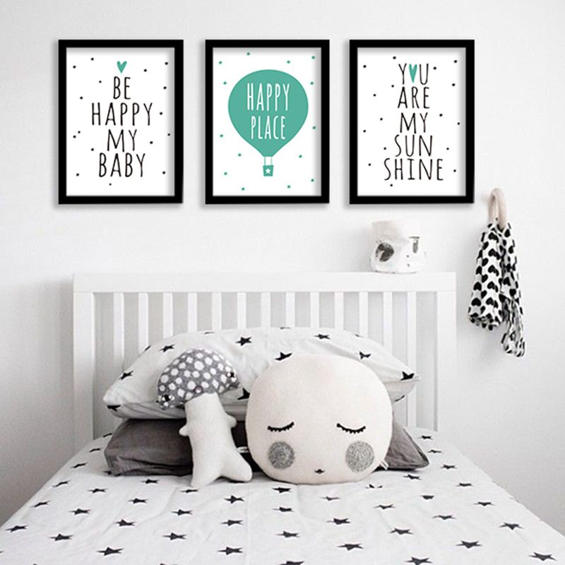 Be Happy My Baby Nursery Decor Canvas Art Print , Kids Art Print Quote Print You Are My SunShine