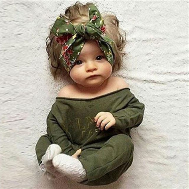 Baby Girls Army Green Rompers 2016 New Desgin Slash Neck Autumn Jumpsuit Newborn Girls Casual Long Sleeve Romper Jumpsuit