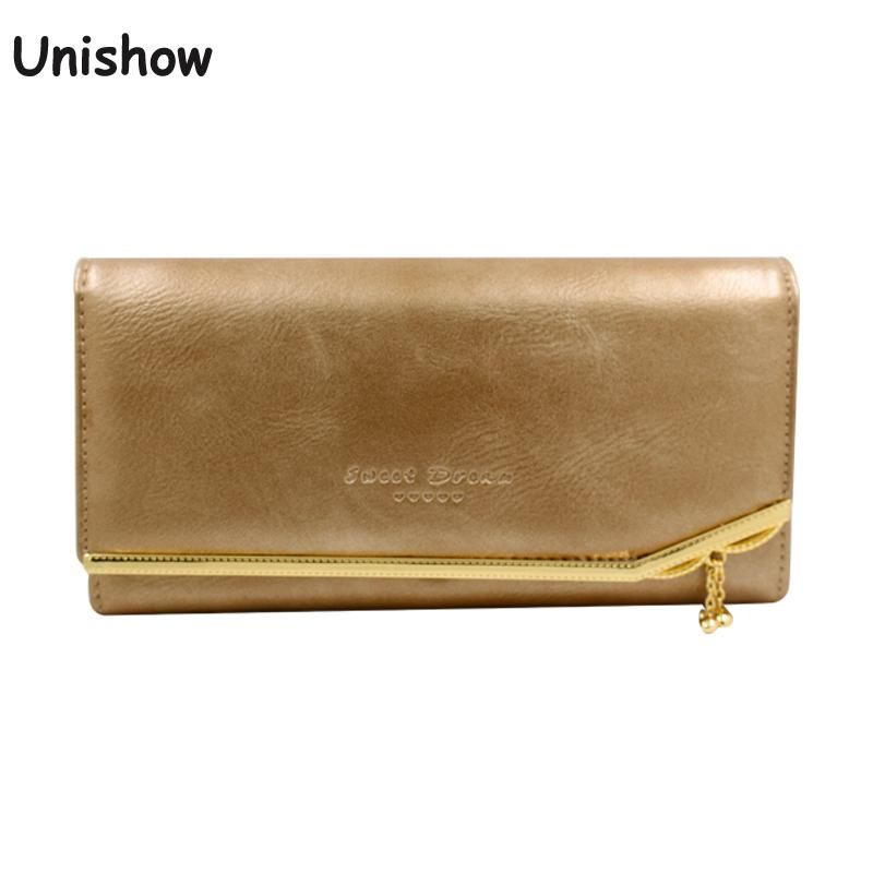 Luxury Oil Pu leather women wallet with small pendant soild long female purse wallet brand lady phone wallet fashion money purse