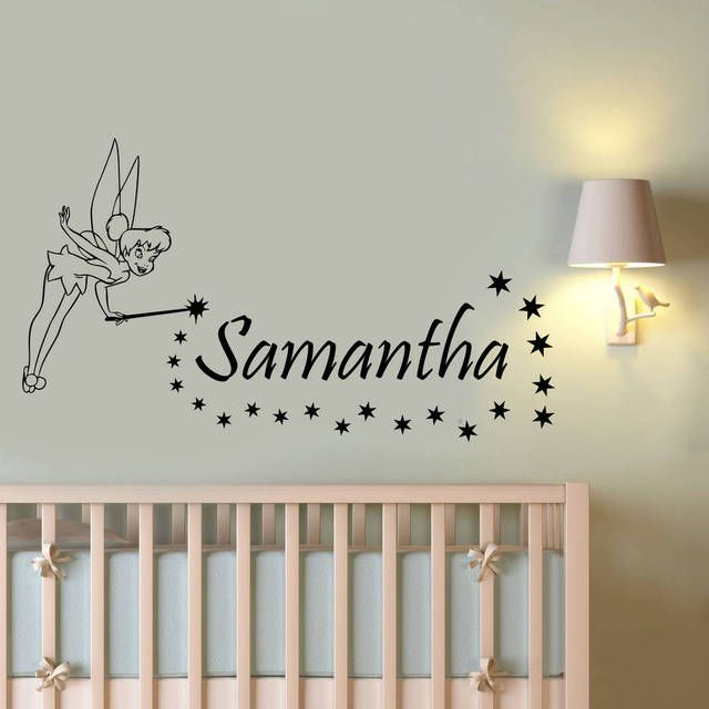 Litter Fariy Customized Name Wall Decals Magic Wand Elfin With Children Name Wall Stickers Art Home Decor For Kids Room