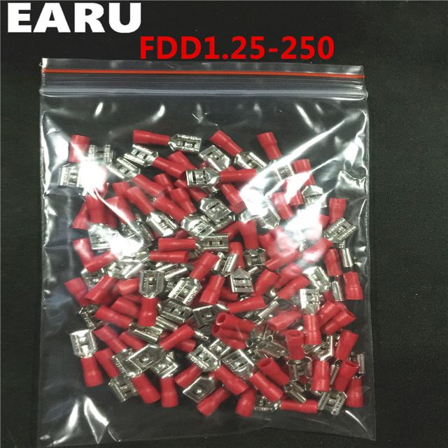 FDD1.25-250 insulating Female Insulated Electrical Crimp Terminal Connectors Cable Wire Connector 1000PCS/Pack FDD1-250 FDD