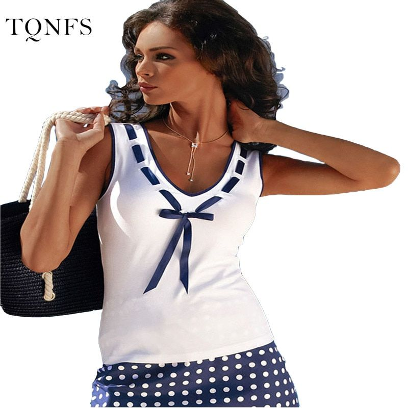 TQNFS 2017 New Fashion Vintage Summer T Shirt Women Clothing Tops Sleeveless V-Neck With Bow T-shirt  White Clothes