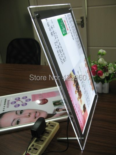 FREE SHIPPING A5 Crystal light box on DESKTOP, acrylic light box without frame, ultra thin photo frame, LED light box