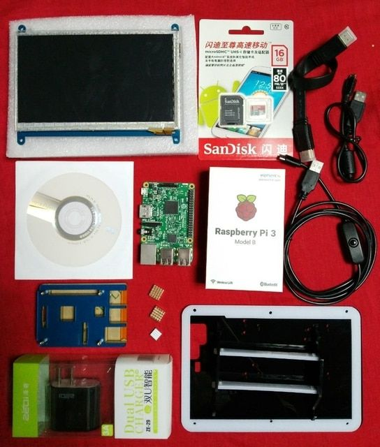 Elecrow Raspberry Pi 3 Super Integrated Computer Kit 7 inch Touch Display with Heat Sink 16G SD Card Case for Linux Starters