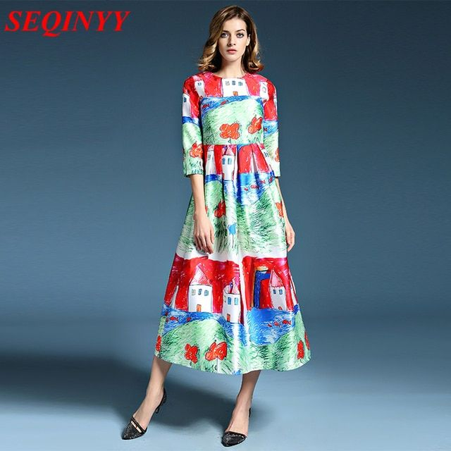 2016 Summer New Fashion Daily Women's Half Sleeve Childlike Crayon Printed New Ball Gown Midi Dress