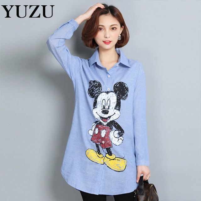Shirt cute mouse blusas feminina 2017 plus size long sleeve ladies office shirts cartoon casual body blouse Blue striped shirt