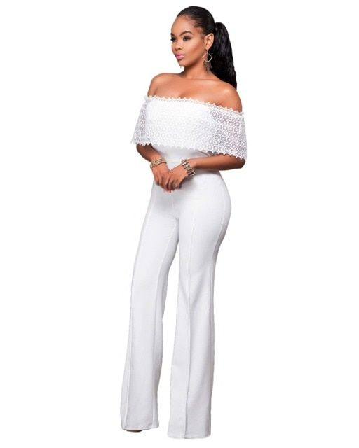 Women Ruffles Lace Party Jumpsuit Sexy Black White Off Shoulder Wide Leg Long Playsuit Fashion Side Zipper Macacao Feminino