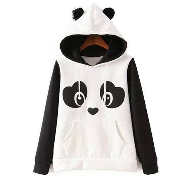 New 2016 Women Autumn Fleeve Long Sleeve Casual Sweatshirts Women Lovely Print Panda Hoodies Moleton Feminine Oversize MZ685