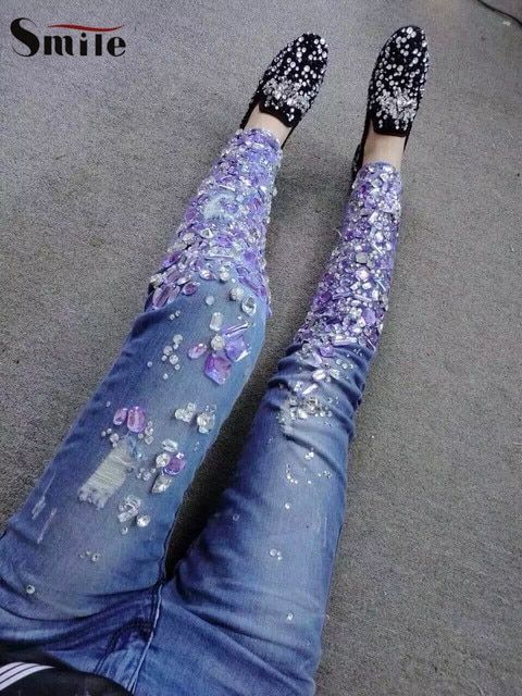 New Elegant Beads Skinny Pencil Jeans Women Mid-waist Denim Trousers Elegant Fashion Ladies Woman Slim Ripped Hole Pencil Pants