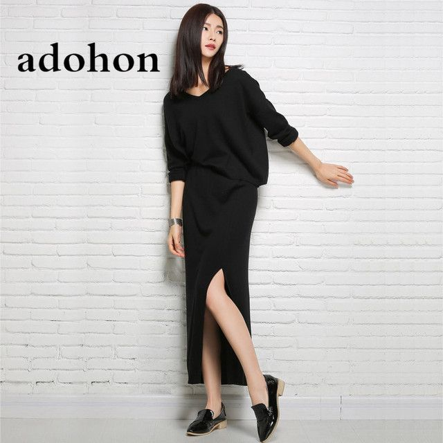 adohon 2018 womens winter Cashmere sweaters and auntmun women knitted Women's Sets High Quality Warm Female thickening Dresses
