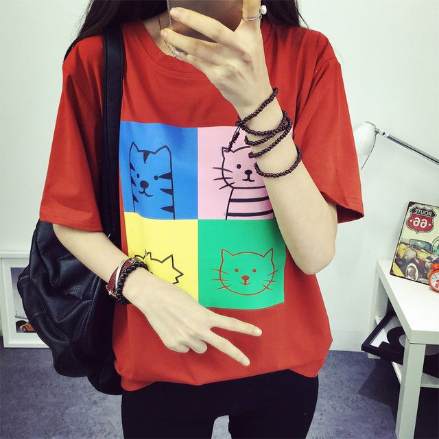 2016 Women's Summer T-Shirt Lovely Cats Printed Basic Bottoming Fashion Clothes O-neck Short Tops 3 Colors Free Shipping