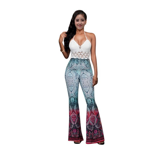 New Fashion Painting Printed Jumpsuit Vintage Tie dye Rompers Womens Sexy Helter Bandage Chest Cup Boot Cut Jumpsuit One Piece