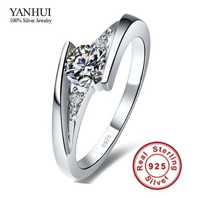 Sent Certificate of Silver!!! 100% Pure 925 Sterling Silver Ring Set Luxury 0.75 Carat CZ Diamant Wedding Rings for Women JZR004
