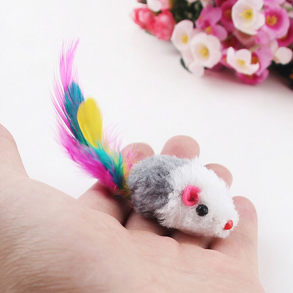New 5pcs/lot Funny False Mouse Rat Toys for Cat Kitten Colorful Plush Mini Mouse Toys Pets Cat Playing Toy