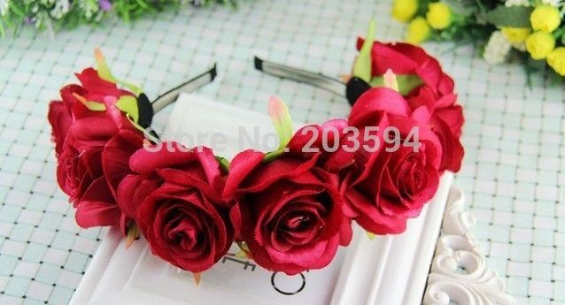 Red roses ring bride bridesmaids, flower girl hair wreath Photo seaside resort photo props