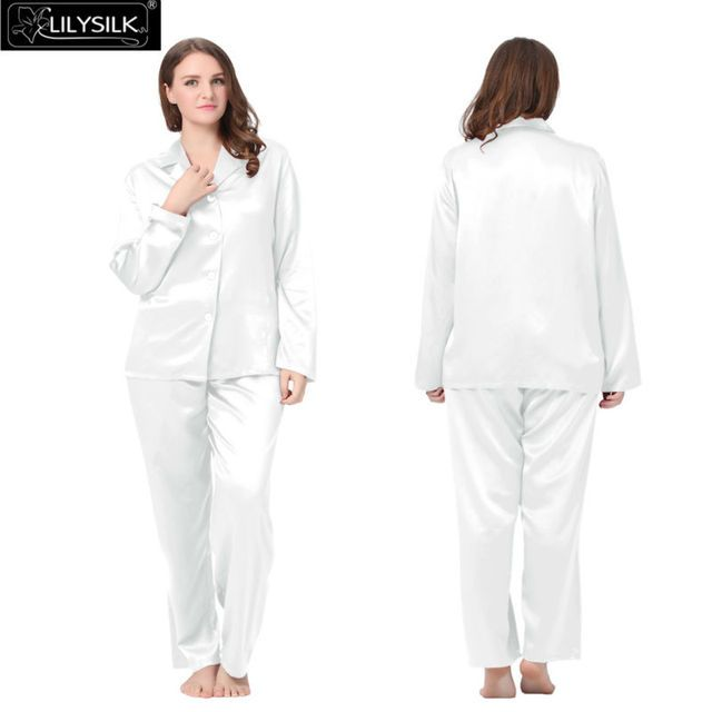 Lilysilk 100% Pure Silk Pajamas Couple Set Women Plus Size 22 Momme Long Sleeve Pure Wedding Sleepwear For Sleeping Lounge Wear