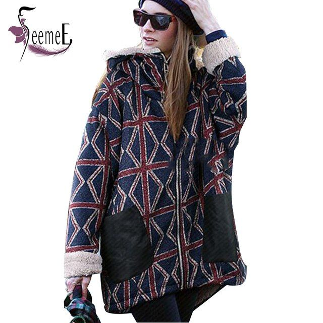 SeemeE Europe Style Women Casual Hoodies Hooded Plaid Plus Velvet Warm Tops Jacket Sweatshirts Outwear Feminino Roupas Big Size