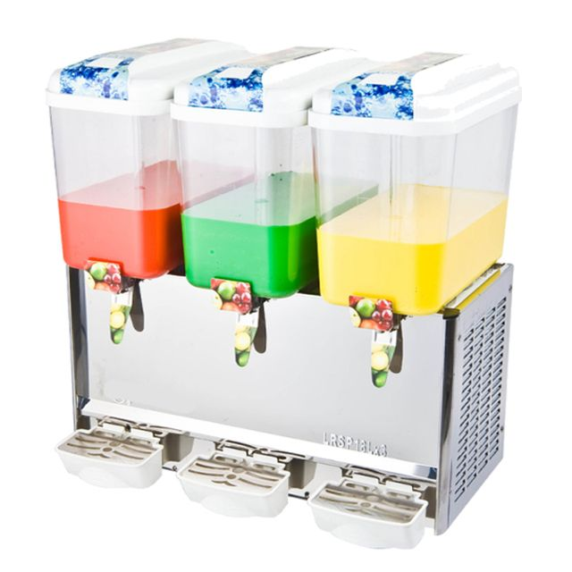 18L Three Tank Commercial Friut Juice Dispenser with Cooling and Mixing Function