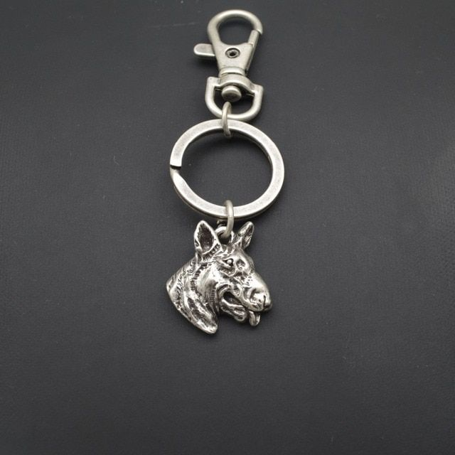 Fashion vintage Bullterrier dog keychain for men and women gift pendant jewelry Bull Terrier key ring bulldog charm accessory