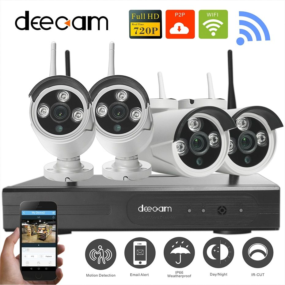 Deecam 4CH IR HD Home Security Wifi Wireless IP Camera System 720P CCTV Set Outdoor Wifi Cameras Video NVR Surveillance CCTV KIT
