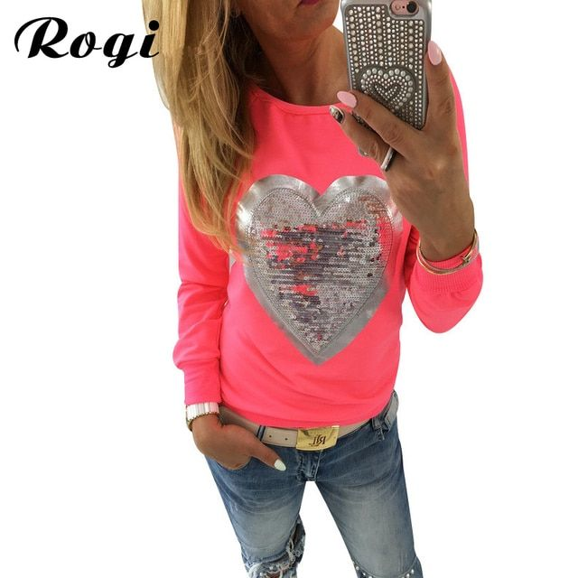Rogi Womens Hoodies 2019 Fashion Long Sleeve Female Sweatshirt Jumper Lovely Sequined Heart Pullovers Hoody Lady Tracksuits Tops