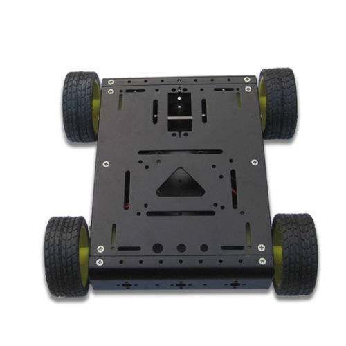 4WD Drive Aluminum Mobile Car Gold Robot Platform For UNO Mega2560 R3 BLACK
