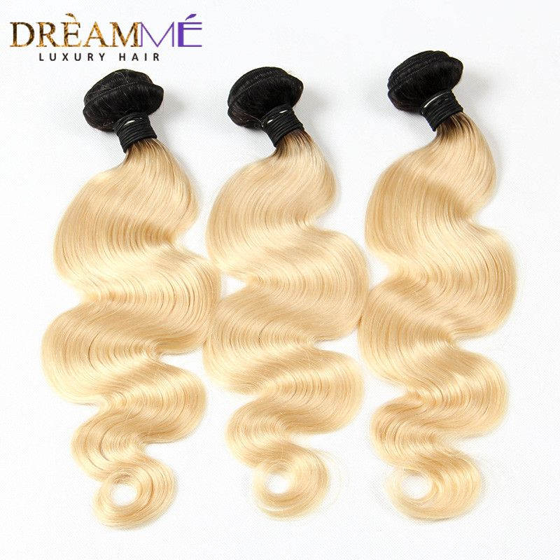 1b 613 Body Wave 3 Bundles Ombre Brazilian Human Hair Weave Ombre Human Hair Extension Dream me Hair  Remy Blonde Hair