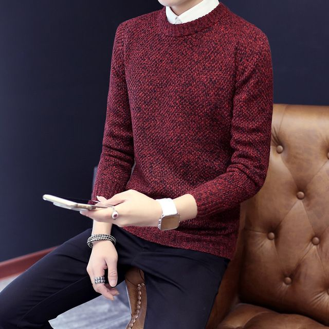 2016 New Fashion Men Wool Sweater Autumn Winter O-neck Thick Knitwear Elegant Pure Color Pullover Stretch Mens Sweaters