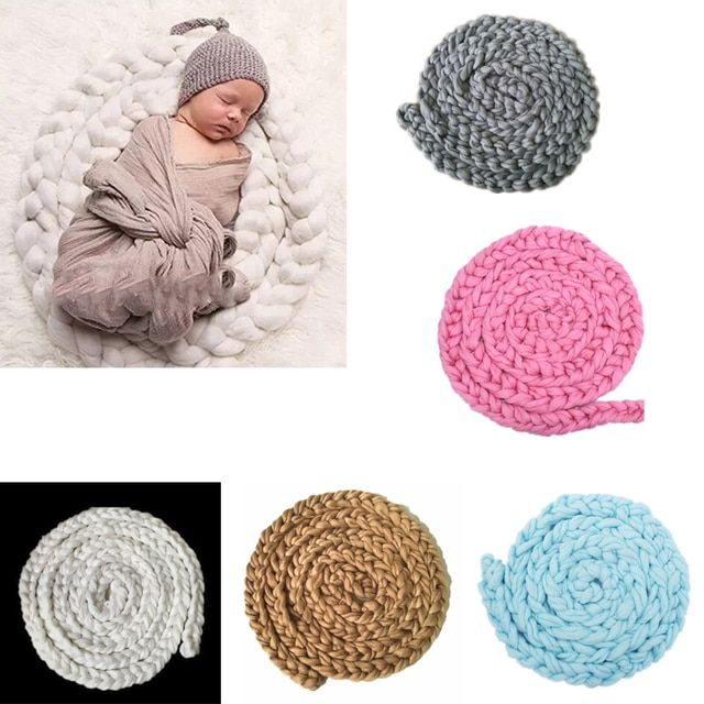 Newborn Baby Soft Photography Photo Prop Infant Backdrop Braided Child Blanket Rug