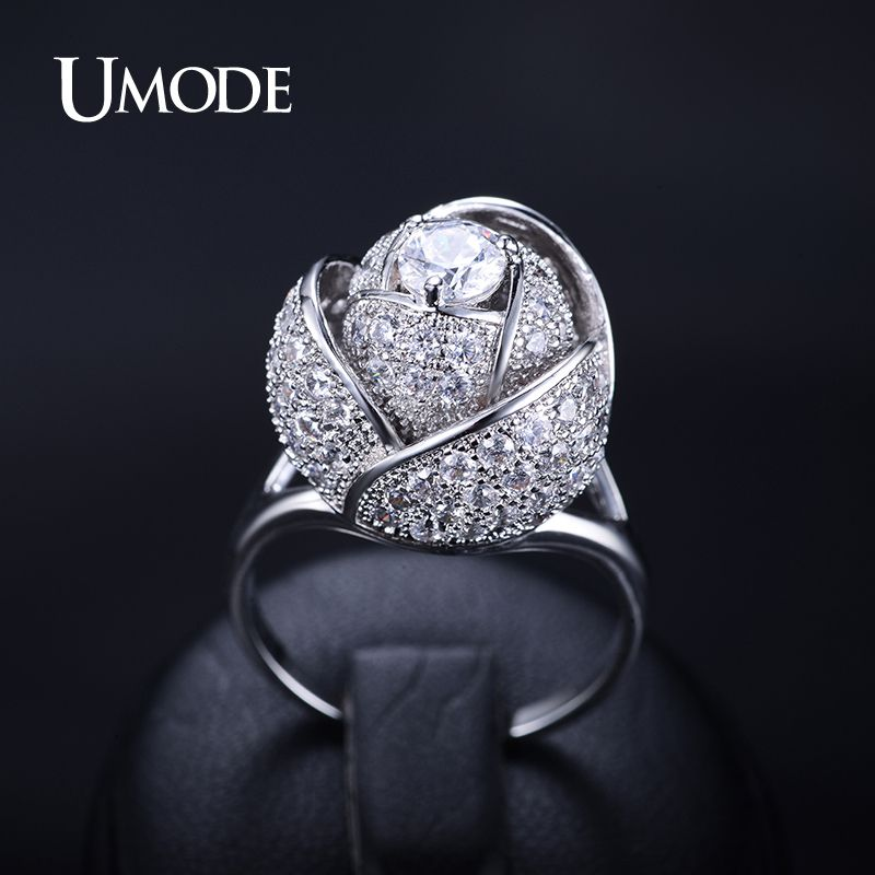 UMODE Brand Fashion New Style Women Ring Rhodium Color Rose Flower Female Ring with 5mm 0.5ct CZ Stone Noble Design Ring UR0081