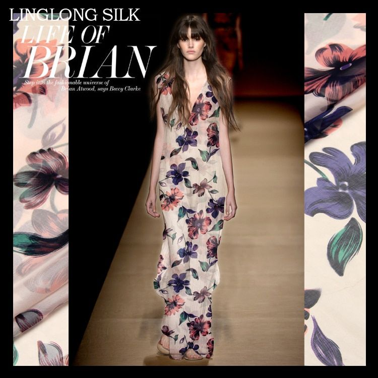 "PRINT SILK CHIFFON FABRIC 6mm Width 53""-135cm100%Natural Silk Chiffon Fabric Dress Fabric Pattern Silk Print Flower Pattern"