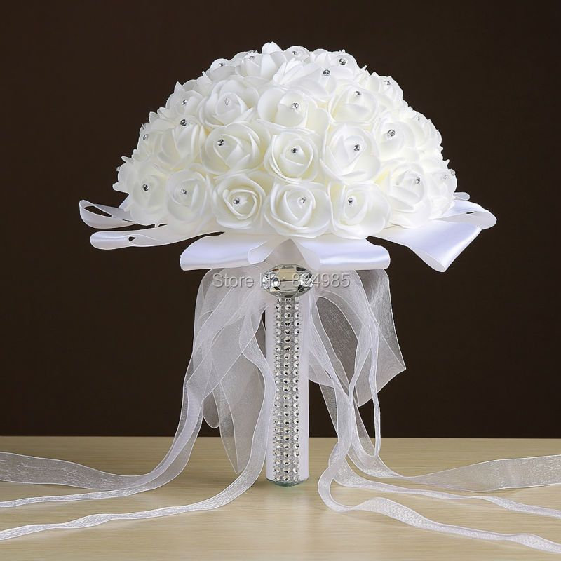 cheap White Wedding Bouquet Bridal Bridesmaid Brooch Bouquet Artificial Rose Flower Bouquet Wedding Flowers Bridal Bouquets