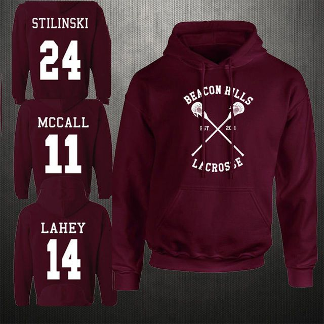 Fashion Beacon Hills Lacrosse Hoodies Teen Long sleeve Wolf McCall Stilinski Lahey Unisex Sweatshirt Tops