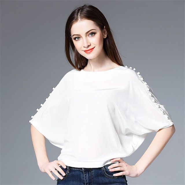 Hot sale 2017 spring summer new high end fashion women half sleeve T-shirt,Female Silk round neck tops solid color bead needle