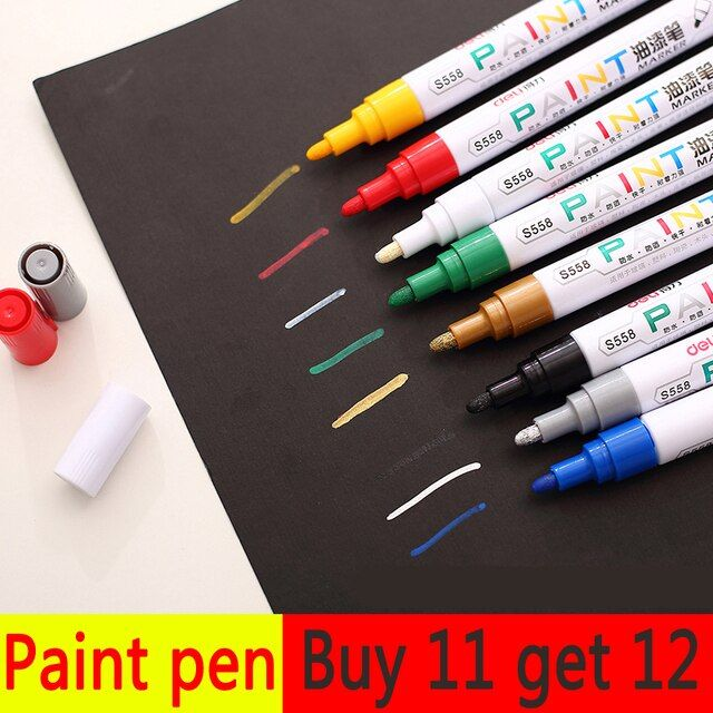 1PCS Permanent Marker Waterproof Black White Marker Pen Paint Marker for Cd for Rubber for Metal for Tires Car Paint Pen