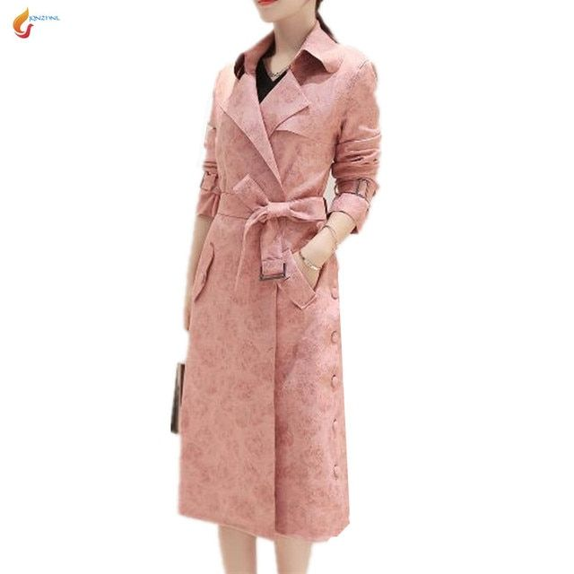 JQNZHNL 2017  New Women Slim temperament Long-sleeved Suede Women Windbreaker Medium long Fashion Pink Spring Clothes Coat G26