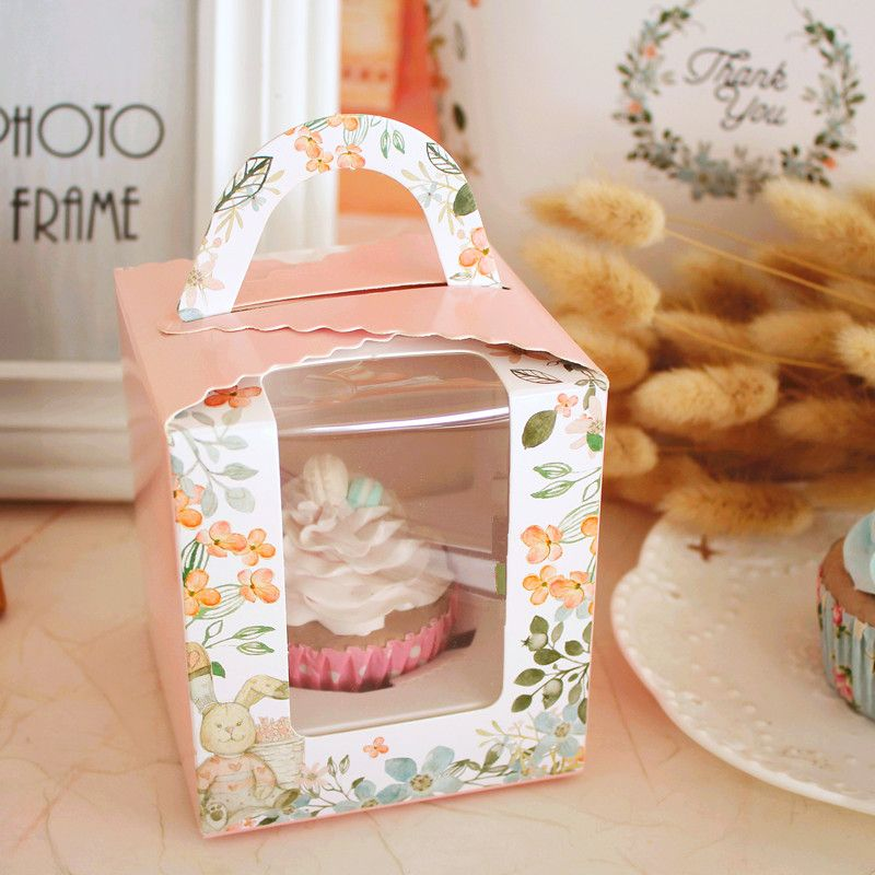 Free Shipping cake boxes with window, Wholesale pink carton baking paper gift gifts cupcake box cardboard packaging boxes