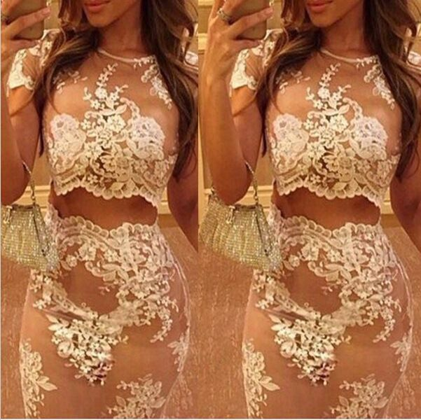 2016 New Women Ladies White Lace Sheer Crop Top And Skirt 2 Two Piece Floral set