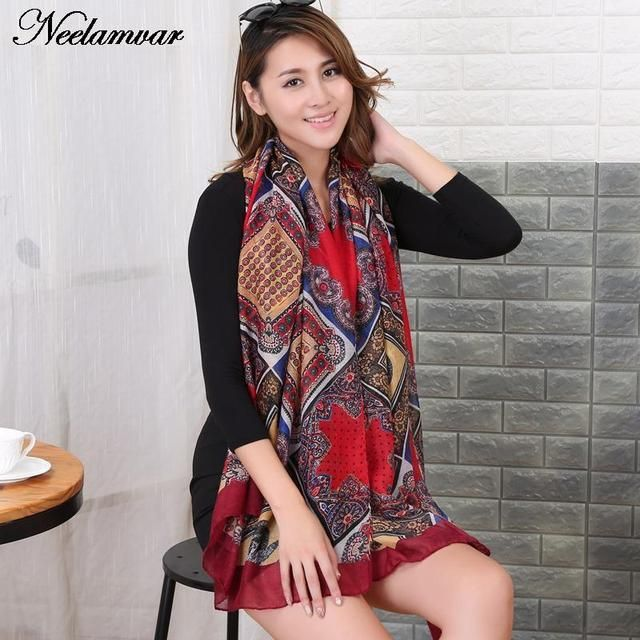 2017 Autumn and winter new style cotton voile scarf fashion women soft printing all-match  vintage style shawl  scarves