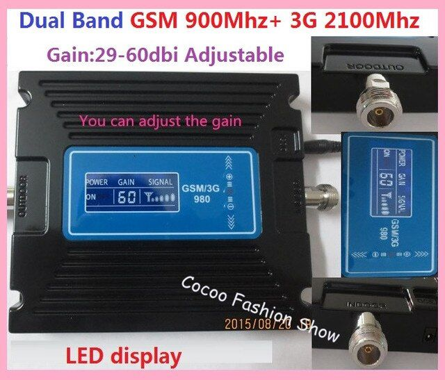 New LCD display ! Dual band GSM 900MHZ 3G WCDMA UTMS 2100MHZ Mobile signal repeater GSM 3g cell phone signal booster amplifier