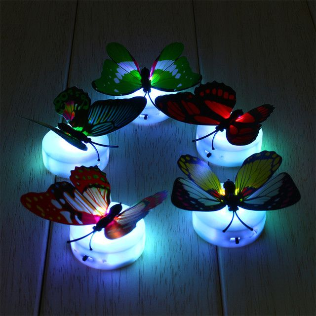 Romantic Colorful LED  Color Changing Butterfly Night Light Bed Lamp Home Illumination Light Decorative Wall Nightlights Random