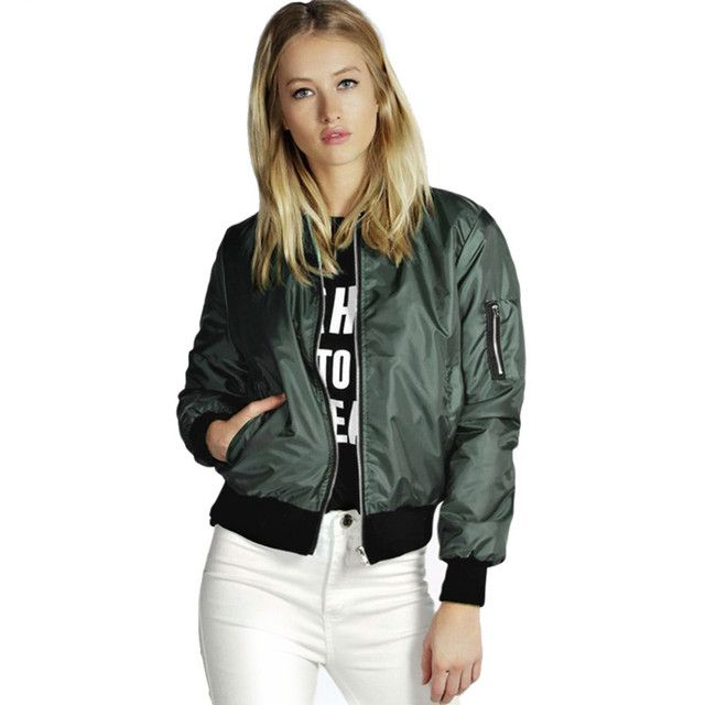 2016  Autumn Women Thin Jackets Tops Bomber Jacket Long Sleeve Coat Casual Stand Collar Slim Fit Outerwear Plus Size