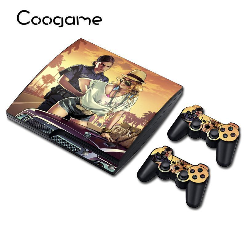 3 Style Gta 5 Sticker For Sony PS 3 Slim Joystick Skin For Play station 3 Slim GTA Playing Games